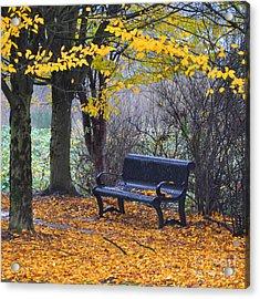 Fall Bench Acrylic Print