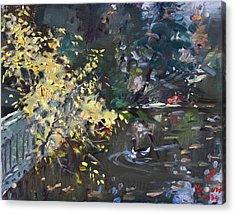 Fall By The Pond Acrylic Print by Ylli Haruni
