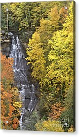 Acrylic Print featuring the photograph Fall Color Surrounds Chapel Falls On The Michigan Upper Peninsula by Dave Welling