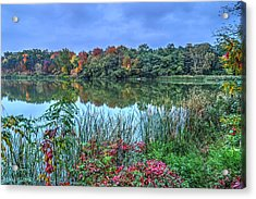 Fall Colors At Blue Hour Near Zegrze Acrylic Print