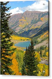 Fall Colors At Maroon Lake Acrylic Print by Steve Anderson