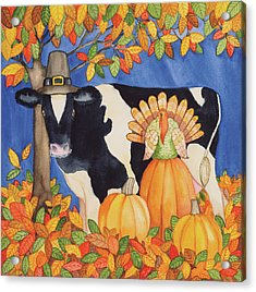 Fall Cow Acrylic Print by Kathleen Parr Mckenna