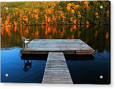 Fall Dock In Vt Acrylic Print by Andrea Galiffi