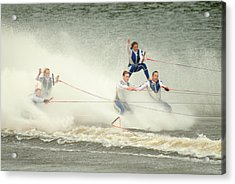 Fall During Waterskiing Acrylic Print by Devinder Sangha