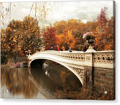 Fall Finale At Bow Bridge Acrylic Print by Jessica Jenney