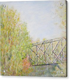 Fall Foliage And Bridge In Nh Acrylic Print