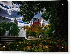Fall Fort Wayne Skyline Acrylic Print by Gene Sherrill
