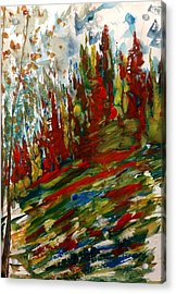 Fall Hillside In Abstract Acrylic Print