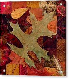 Acrylic Print featuring the mixed media Fall Leaf Collage by Anna Ruzsan