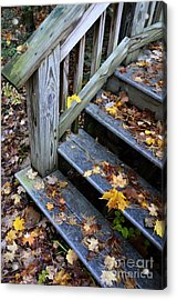 Fall Leaves On Steps Acrylic Print