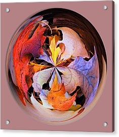 Fall Leaves Orb Acrylic Print