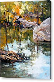 Fall Mirror Acrylic Print by Rae Andrews