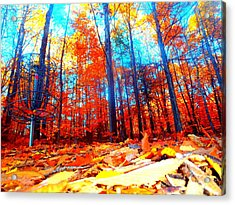 Fall On Fire Acrylic Print