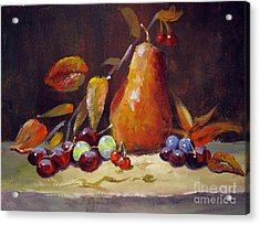 Acrylic Print featuring the painting Fall Pear by Carol Hart