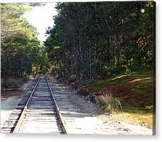 Fall Railroad Track To Somewhere Acrylic Print