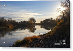 Fall Red River At Sunrise Acrylic Print