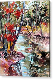 Fall Reflections Acrylic Print by Rae Andrews