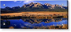 Acrylic Print featuring the photograph Fall Reflections Sawtooth Mountains Idaho by Dave Welling