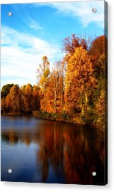 Acrylic Print featuring the photograph Fall Scene At Hedden Pond With Orton Effect by Eleanor Abramson