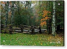 Fall Split Rail Fence Scenic Acrylic Print
