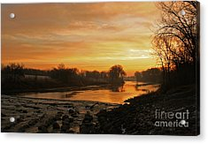 Fall Sunrise On The Red River Acrylic Print by Steve Augustin
