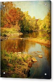Fall Time At Rum River Acrylic Print by Lucinda Walter