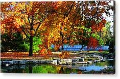 Fall Trees Landscape Stream Acrylic Print