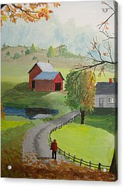 Acrylic Print featuring the painting Fall Walk by Norm Starks