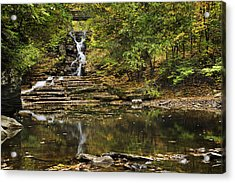Fall Waterfall Creek Reflection Acrylic Print by Christina Rollo