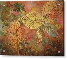 Acrylic Print featuring the painting Fallen Leaves II by Ellen Levinson