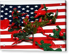 Fallen Toy Soliders On American Flag Acrylic Print