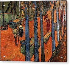 Falling Autumn Leaves Acrylic Print by Vincent van Gogh
