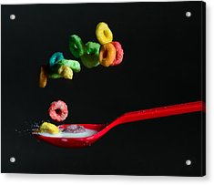 Acrylic Print featuring the photograph Falling Fruit Loops by John Hoey