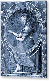 Falling Leaves Cyanotype Acrylic Print by John Edwards