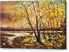 Acrylic Print featuring the painting Falling Leaves by Emery Franklin