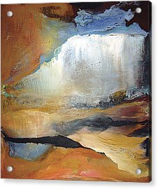 Acrylic Print featuring the painting Falling Sky Ice Mountain by Carolyn Goodridge