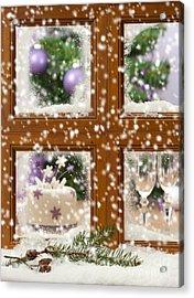 Falling Snow Window Acrylic Print by Amanda Elwell