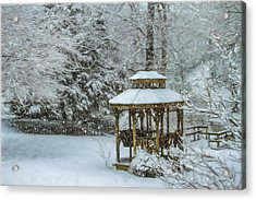 Falling Snow - Winter Landscape Acrylic Print by Barry Jones