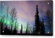 Falling Star And Aurora Acrylic Print by Ron Day