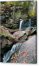 Falling Water Meets Fallen Leaves Acrylic Print by Gene Walls
