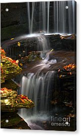 Falls And Fall Leaves Acrylic Print