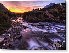 Falls At First Light Acrylic Print by Mark Kiver