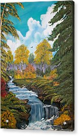 Acrylic Print featuring the painting Rushing Waters  Falls  by Sharon Duguay
