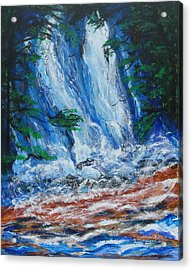 Acrylic Print featuring the painting Waterfall In The Forest by Diane Pape