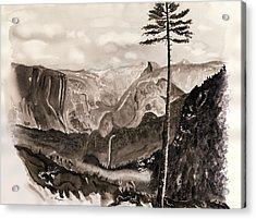 Falls Of The Yosemite Painting Acrylic Print by Warren Thompson