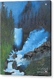 Falls On The Rocks Acrylic Print by Dave Atkins
