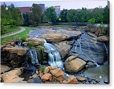 Falls Park Waterfall At Dawn In Downtown Greenville Sc Acrylic Print