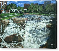 Acrylic Print featuring the painting Falls River Park by Bryan Bustard