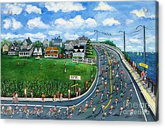 Falmouth Road Race Running Falmouth Acrylic Print by Rita Brown