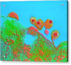 False-col Tem Of Aids Virus Emerging From T4 Cell Acrylic Print